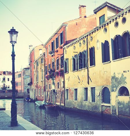 Canal in Venice, Italy. Retro style filtered image