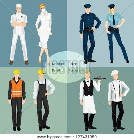 Set of professional people in uniform isolated on color background. Doctor, surgeon, police officer, worker, mechanic, waiter, chef