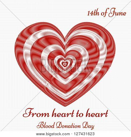 Blood donation motivation poster. World Blood Donor Day Banner. Blood drop with hearts. Save the Life.
