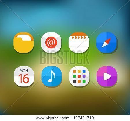 Different modern smartphone application icons set on blur backgr