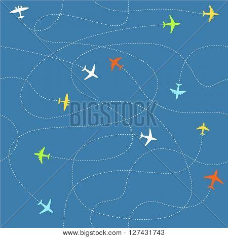 Different plane ways abstract scheme. Seamless vector pattern