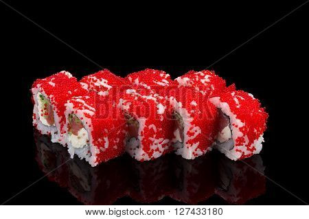 Japanese Cuisine. Sushi Roll With Red Caviar (tobiko) Over Black Background.