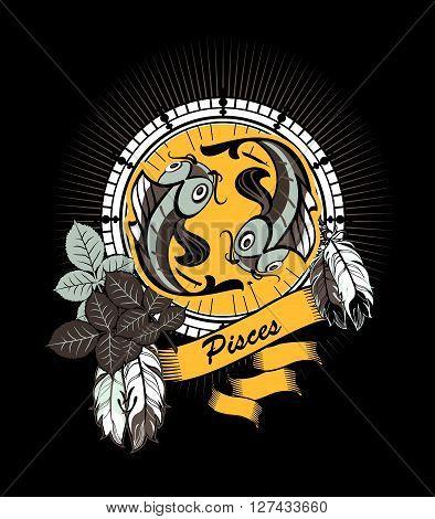 vector illustration zodiac sign Pisces emblem vintage frame with feathers on a black background