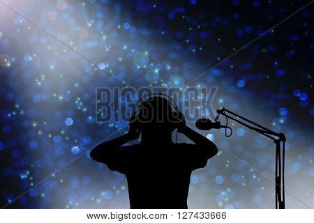 Silhouette Singer Women With Headphone And Microphone, Concept Voice Recording