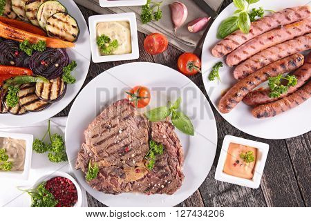 fried vegetable and meat,barbecue