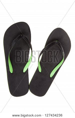 Black thongs isolated on white. Beach Sandals flip flops