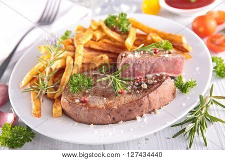 grilled beef and french fries