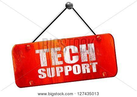 tech support, 3D rendering, red grunge vintage sign