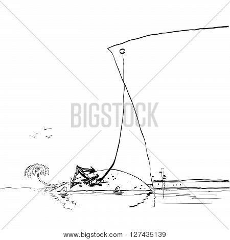 Passenger liner sailed to a tropical island. Travel and tourism. Black and white vector graphics. Sea cruise