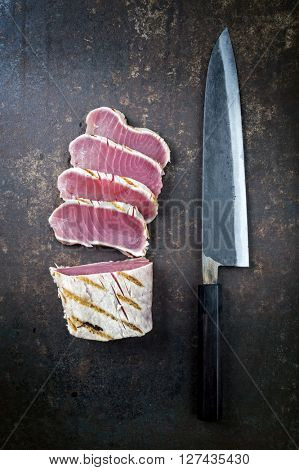 Tuna Steak on old Sheet