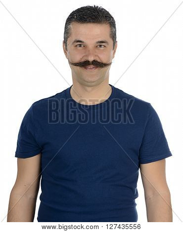 Portrait of an adult man isolated on white background.