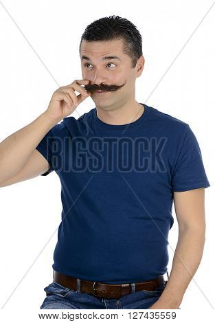 Adult macho man twirling mustache isolated on white background.