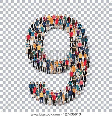 People in the form of number . Transparency grid . 3D  illustration .Vector illustration.