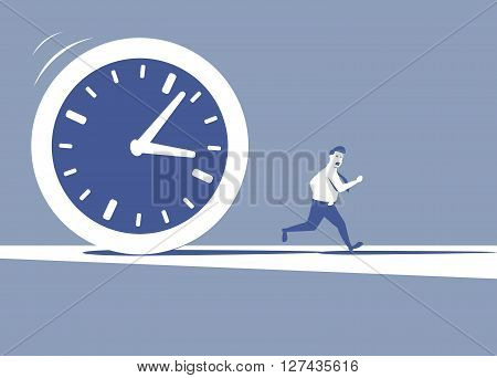 This is an illustration of huge clock pursuing a manager
