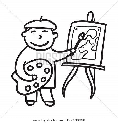 Boy drawing hand drawn vector illustration. Child painting. Little artist