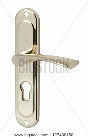 nickel door handle with keyhole isolated on white background