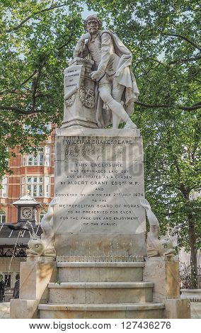 Shakespeare Statue In London Uk