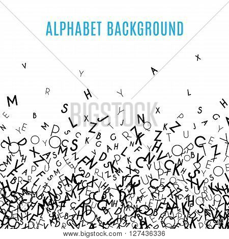 Abstract black alphabet ornament border isolated on white background. illustration for education, writing, poetic design. Random letters fall below. Alphabet book concept for grammar school.