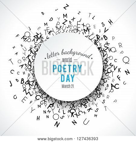 Abstract black alphabet ornament border isolated on white background. illustration for education writing design. Stripe of random letters fly around. Alphabet book concept for grammar school