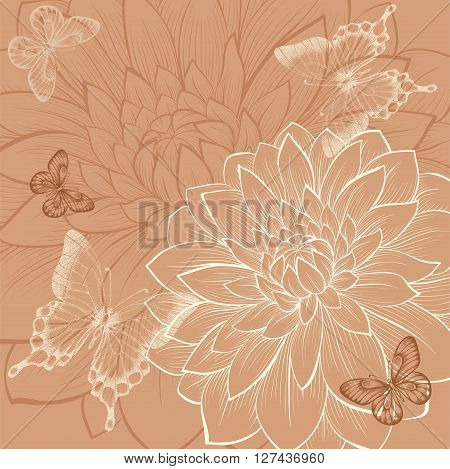beautiful background with flowers dahlia and butterflies. Vintage color. Hand-drawn contour lines and strokes. Perfect for background greeting cards and invitations to the day of the wedding birthday and Valentine's Day