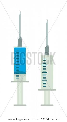 Medical tool syringe with colored liquids isolated on white vector illustration.