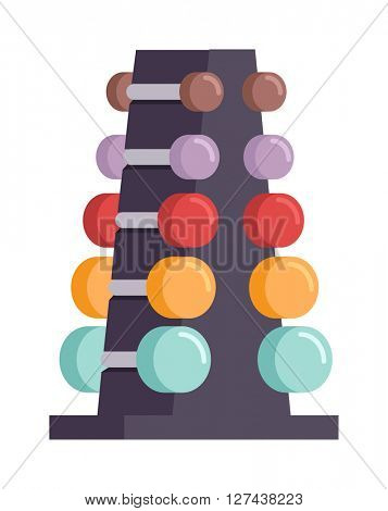 Rack with metal dumbbells stack vector equipment gym health workout.