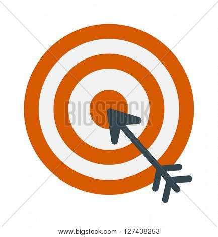 Successful shoot goal icon darts target aim on white background vector illustration.