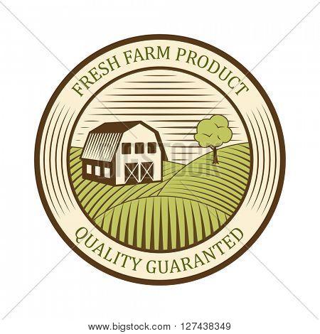 Flat farm logo label and design badge natural production vintage emblem vector.