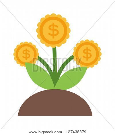Vector flat icons design money flower dollar sign investment concept.