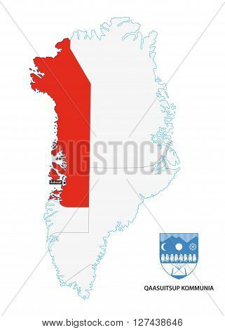 administrative map of Greenland Qaasuitsup Municipality with coat of arms