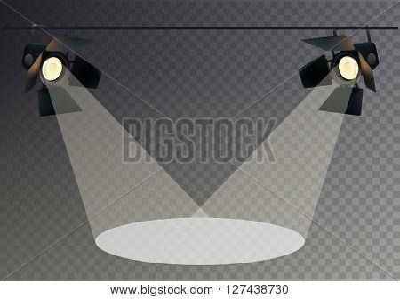 Realistic Transperent Background Spotlights. Light Effect. Scene Studio Show. Isolated Vector Illustration.