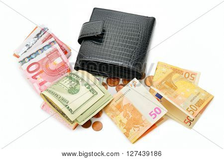 Purse and paper money isolated on white