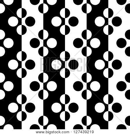 Seamless Stripe and Circle Pattern. Vector Black and White Background