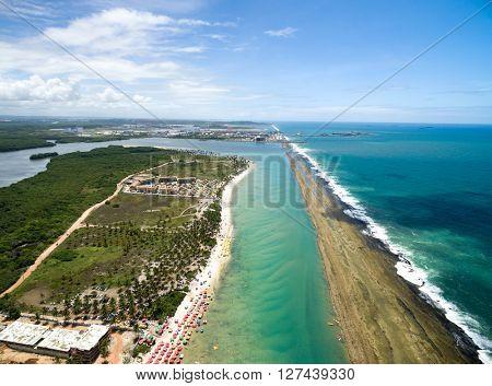 Aerial view of Muro Alto beach in Porto de Galinhas, Pernambuco, Brazil