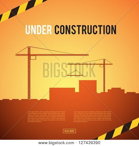 Building under Construction site. Construction infographics. Industrial area. Development of a modern city. Add your text. Engineering concept. No way. Danger. illustration template design