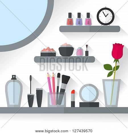 Home dressing table interior illustration. Make up flat concept with cosmetics, makeup table, mirror, flower, make-up tools, rose flower. Make-up artist objects. Accessories for pretty woman.