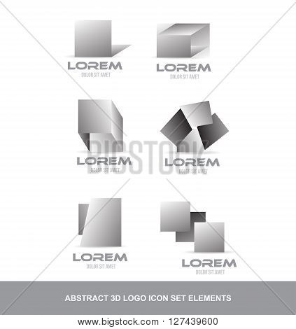 Vector company logo icon element template abstract black white grey 3d set