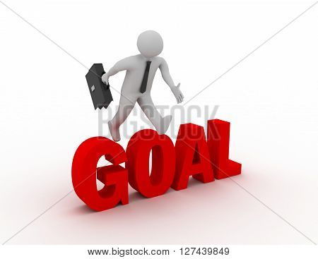 3D Businessman Jumping Over 'goal' Word With White Background