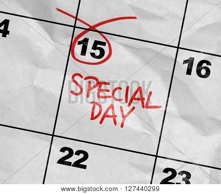 Concept image of a Calendar with the text: Special Day
