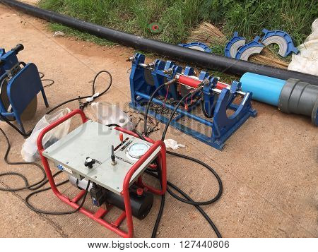 Pipe Welding Machine for Polyethylene pipe. fusion