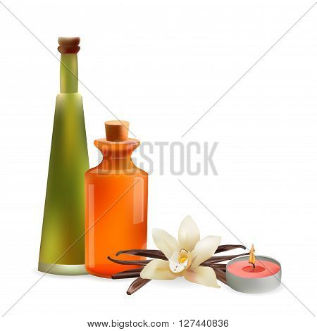 Glass Cosmetic Bottles and Candle with Vanilla Flower. Vector Isolated Illustration. Template Elements for Cosmetic Shop Spa Salon Beauty Products Package Medical Care Treatment.