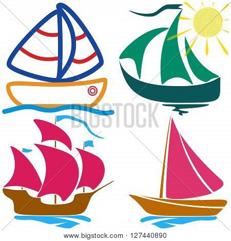 Set sailboat childlike drawing EPS10 - vector graphics.