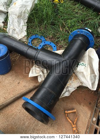Three-way for pipelines Polyethylene pipe. construction, fusion