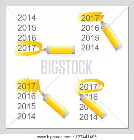 Markers vector set, highlighting 2017 year. Business, office theme elements.