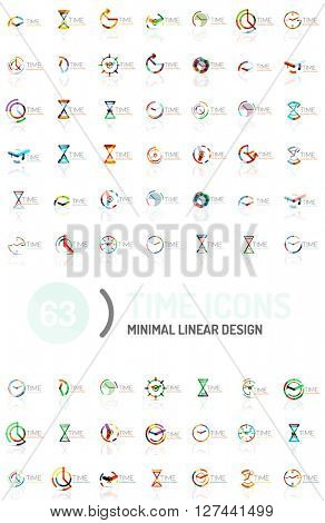 Set of vector abstract logo ideas, time concepts or clock business icon collection. Creative logotype design templates