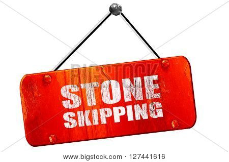 stone skipping, 3D rendering, red grunge vintage sign