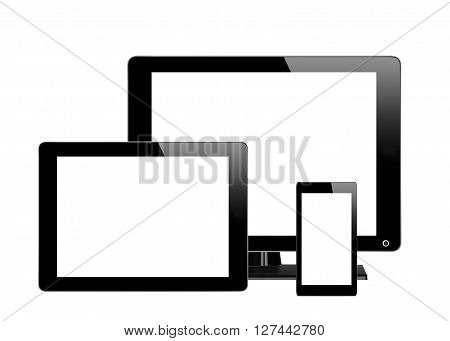 Black computer monitor tablet and mobile phone with empty screen isolated on white background