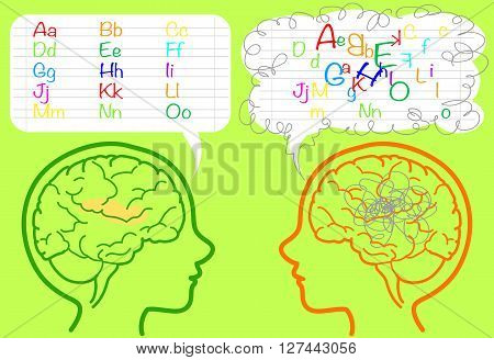 The brain of a dyslexic boy is puzzled and confused about letters. Vector.