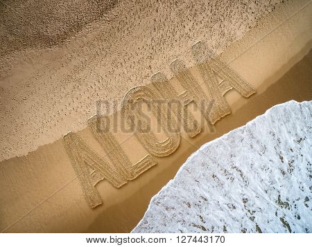 Aloha written on the beach