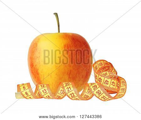 yellow apple and measuring tape isolated on white background
